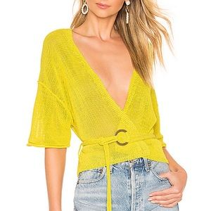 NWT Free People Oh Hello Cardi Yellow Knit Top XS